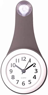 Kytree Suction Wall Clock,Silicone Waterproof,12 Inch Wall Clock for Kids Wall Clock Non Ticking Wall Clock Large Wall Clock Atomic Wall Clock with Second Hand l Clock Digital Wall Clock (Grey)
