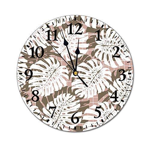 No Branded Reloj de pared de PVC de 25,4 cm, diseño de planta monocromático, diseño de hoja de palma, silencioso, digital, funciona con pilas, para dormitorio, sala de estar, salón o salón