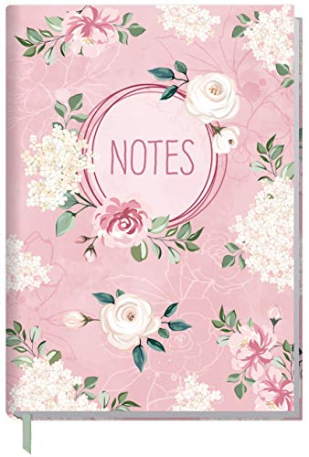 Notizbuch A5 liniert [Blütentraum] von Trendstuff by Häfft   als Tagebuch, Bullet Journal, Ideenbuch, Schreibheft   stylish, robust, biegsam, abwischbares Cover