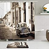 LISNIANY Conjunto De Ducha Cortina Alfombra,Vintage Car Old American Car y Las Calles coloniales de Trinidad y Cuba Imagen histórica,Uso en baño, Hotel