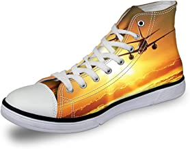 High Top Classic Casual Canvas Sneakers Lace ups Casual Walking Shoes,African American Woman Dancing at Disco Funky Fashion Smiling Face - Womens