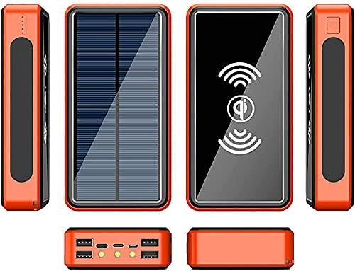 Fringe Trim 30000mah Wireless Solar Power Bank Batería Externa Bank Bank Cargador De Batería Portátil Compatible con Teléfono 12 / 12pro / 12pro MAX / 12 Mini(Color:Naranja)