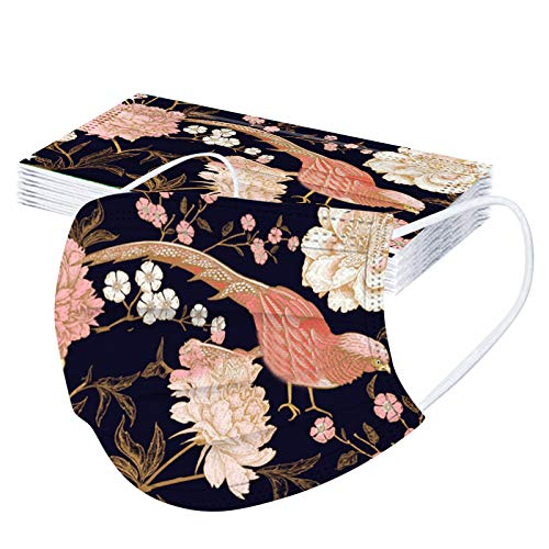 Pzhhzpingg 100Stück,mund und nasenschutz Halstücher mit motiv Blumen Tier Drucken Erwachsene Einweg Vliesstoff 3-Lagig Atmungsaktive Staubdicht Mund und Nasenschutz Halstuch für Jungen und Mädchen