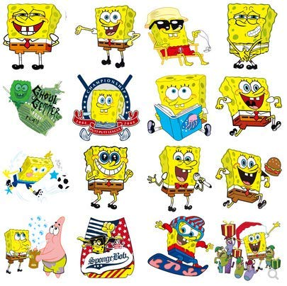 Spongebob Sticker Luggage Laptop Motorcycle Waterproof Sticker Cartoon Skateboard Guitar Sticker 100pcs