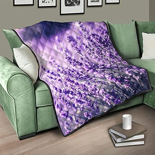 AXGM Colcha para el salón, diseño de flores y hierba, color blanco, 100 x 150 cm