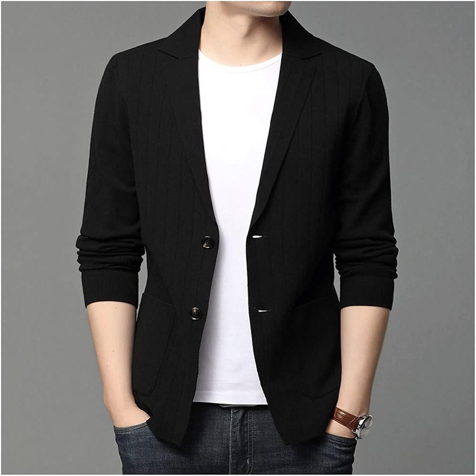 UXZDX CUJUX Casual Fashion Slim Fit Stripe Classic Suit Men Knitted Cardigan Jacket (Color : Black, Size : XXL Code)