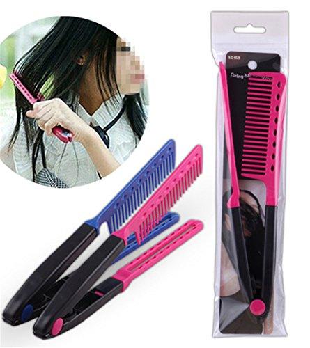 1Pc DIY Salon Hair Brush Combs Hairdressing Styling Hair Straightener V Shaped Straight Comb Color Random