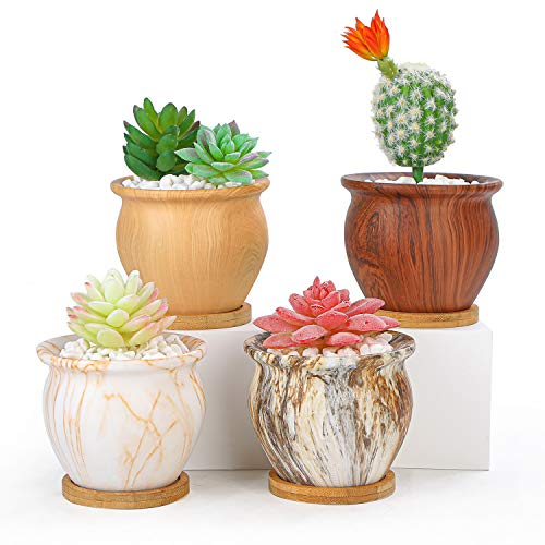 Succulent Planters Pots, 4.5 Inch Ceramic Succulent Cactus Pots with Bamboo Trays and Drainage Holes Set of 4, Modern Small Flower Pots Tiny Bonsai Container Indoor/Outdoor Plants