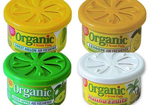 4 Organic Duftdosen mit verstellbarem Dosierdeckel im beliebten Früchte Mix: 1 x Malibu Fruits- Tropic Mix, Sweet Melon - Melone, Green Apple - Apfel, Lemon - Zitrone