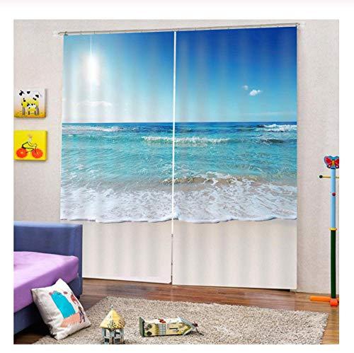 XIMDLS Blackout 3D Curtains Bedroom Home Big Wave Flower 3D Curtains Living Room Kitchen Grommet Curtains Home Goods
