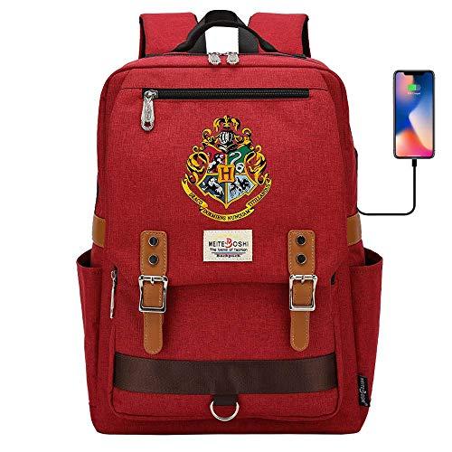 Zaino Hogwarts School Of Magic, borsa da scuola Harry Potter, zaino sportivo per il tempo libero 16,5 * 11,8 * 6,3 pollici Rosso