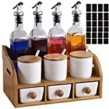 Yopay Porcelain Condiment Jars and Glass Oil Bottles Set with Wooden Holder, Vinegar Bottle Spice Container with 3 Drawers, Lids, Spoons, Plugs for Seasoning Sauce Olive Oil, 5 Labels Included