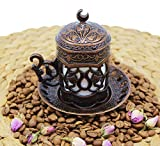 HeraCraft Turkish Greek Arabic Moroccan Coffee & Espresso Cup with Inner Porcelain, Metal Holder, Saucer and Lid, 1 Cup Consists of 4 pieces & Hand Made (copper-2)