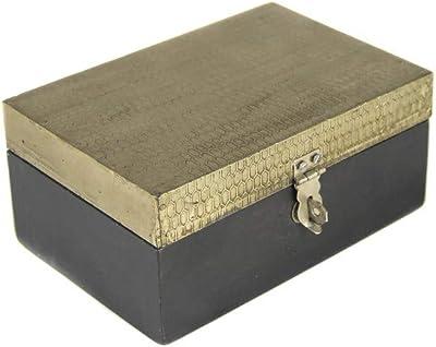 tapidecor Caja Madera Rectangular Negra con Tapa Dorada 15X10X8 ...