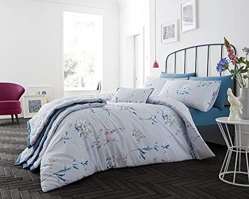 Lancashire Textiles Pretty botanique Collection Parure de lit Gamme, Bleu, Boudoir Cushion