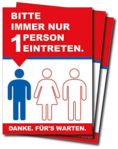 CarGuys 3er Set Aufkleber • Bitte nur eine Person eintreten • DIN A4 (210 x 297 mm), rechteckig, Hinweis-Aufkleber, selbstklebend.