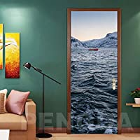 ZWYCEX ドアステッカー リビングルームPVC用ステッカー自己接着ステッカー海景マウンテンDIYドアのホームデコレーションペーパー防水3Dフォトアートを印刷 (Sticker Size : 77x200cm)