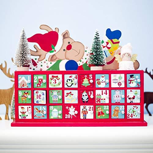 PSATO Adviento Calendario De Madera con Cajones Ciervos De La Navidad Cuenta Atrás Calendario 2019 para Niños Caja De Empaquetado Familia Y del Recuerdo De La Natividad De La Decoración