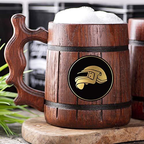 PUBG Level 3 Helmet Beer Mug. Personalized Wooden Beer Mug. Groomsmen gifts. Wooden Tankard. Gift...