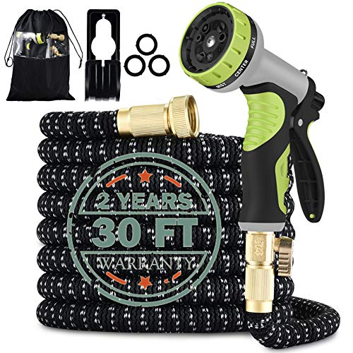 30FT Garden hose| 2021 upgrade Thicken Expandable Water Hose with 9 Function Nozzle Leak proof Lightweight Expanding Garden Water Hose with Solid Brass Fittings Best Choice for Watering and Washing.