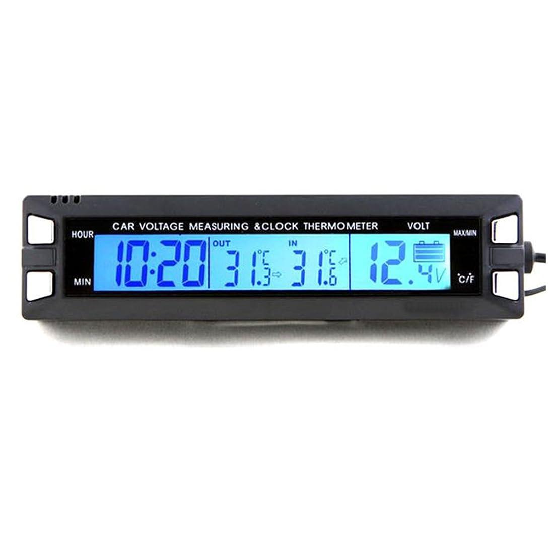 フォージ日没吸うVIGORSTRENG 車載 多機能3つのルミナス時計 時間表示可能 晶デジタル表示電圧計 車内車外温度計