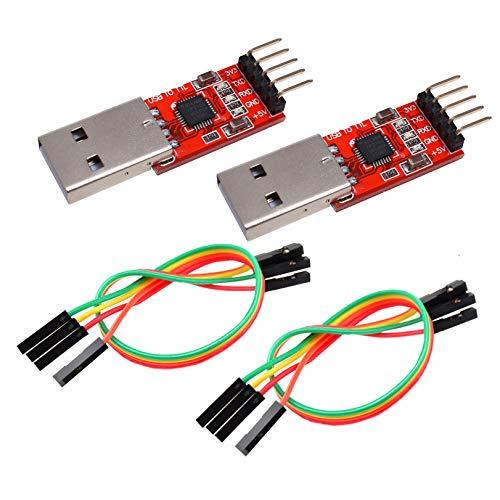 IZOKEE CP2102 USB zu TTL 5PIN Seriell Konverter Adapter Modul Downloader 3,3 V und 5 V für Arduino mit Jumper Kabel (2 Stück)