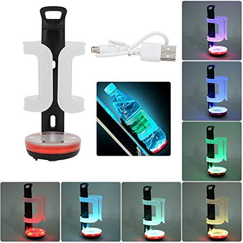 Soporte de botella de agua para bicicleta, ABS Negro Rojo USB de...