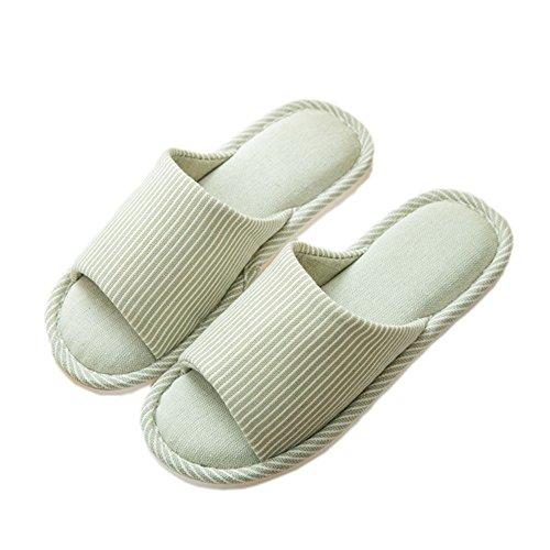 Pantofole da Donne morbide Open Toe Cotone Memory Foam Scivolare su Scarpe da casa per Uso Interno per l'autunno d'Estate (37/38 EU Donna, Verde)