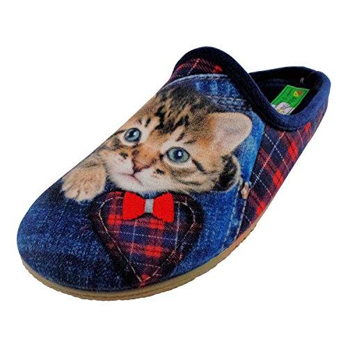 ALBEROLA Hausschuh Pantoffel HELLE Sohle Katze IN JEANSTASCHE A16617A - EU 36-42 (39)