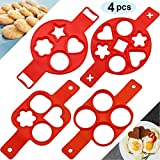4 Pieces Pancake Making Mold Nonstick Silicone Egg Maker Muffin Pancake Mould Mini Flipper Baking Rings, 4 Cavity 7 Cavity with Different Shapes for Saving Cooking Time