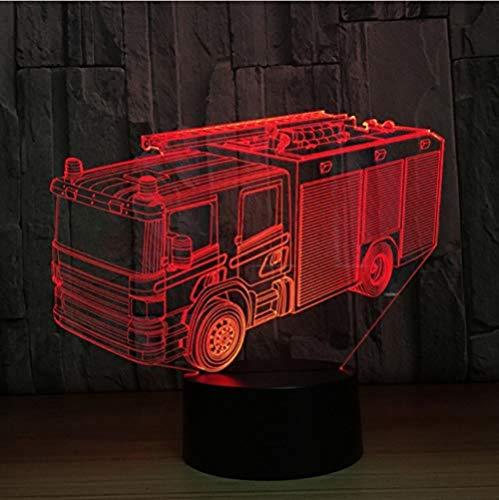 Brandweerauto 3D-licht 7 kleuren LED nachtlampje kinderen aanraken de LED tafellamp Lampara nachtlampje slaaplicht droom wordt realiteit.