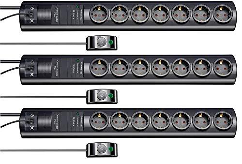 Brennenstuhl Primera-Tec Comfort Switch Plus, Steckdosenleiste 7-fach mit Überspannungsschutz (2m Kabel, Schalter und RJ-11-Verbindung) (3 Stück, schwarz)