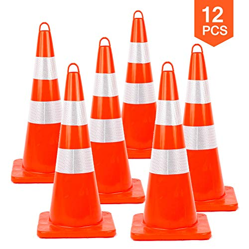12PCS Traffic Safety Cones 28'' inches with Reflective Collars PVC Unbreakable Orange Construction for Traffic Home Parking