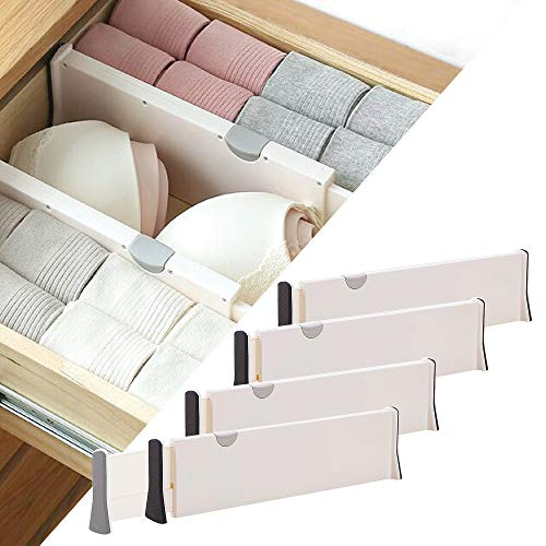 DIOMMELL 4 Pack Adjustable Dresser Drawer dividers Organizers, Plastic Expandable Drawer Organization Separators for Kitchen, Bedroom, Closet, Bathroom and Office Drawers
