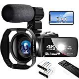 Lincom Tech 4K Video Camera Ultra HD Camcorder 48.0MP IR Night Vision Digital Camera WiFi Vlogging Camera with External Microphone and Lens Hood, 3 in Touch Screen, Bronze, V4