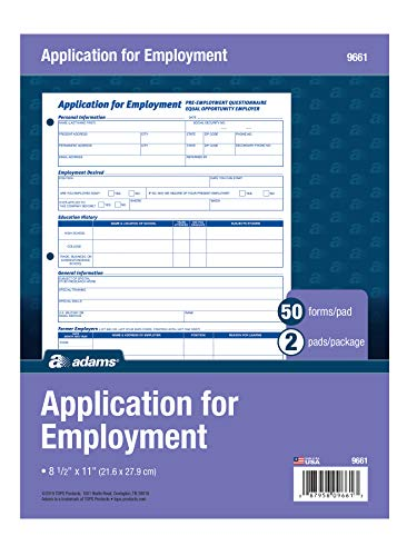Adams Applications for Employment, 8.5 x 11 Inch, 3-Hole Punched, 50-Sheets/Pack, 2-Pack, White (9661)