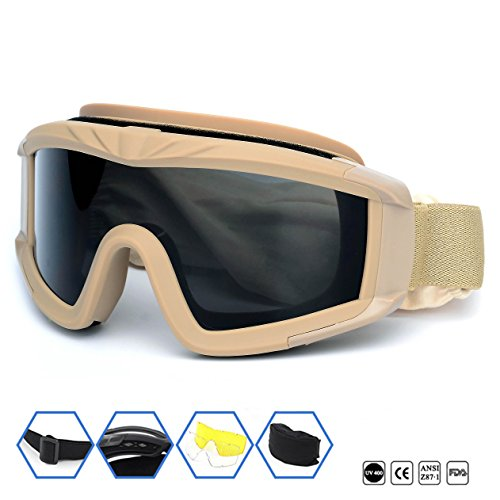 Outdoor Sports Military Airsoft Tactical Goggles with 3 Interchangable Lens Impact resistance Hunting Eyewear, UV400 Protection Shooting Glasses for Men Women Motorcycle Riding Wargame Paintball Khaki