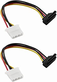 ZRM&E 2PCS SATA 15-Pin Power Adapter Line IDE 4P Female to SATA 15 Pin Female Power Extension Cable IDE to SATA Connector Right Angle