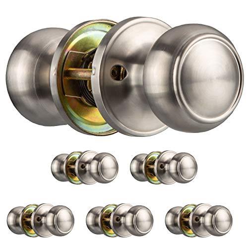 Passage Door Knobs, Satin Nickle 6 Pack - Interior Door Knob Set for Bedroom, Bathroom or Closet