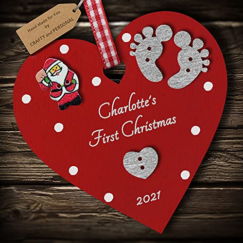 Multi-Colour Personalised Baby's First 1st Christmas Bauble tree decoration wooden heart hanging ornament keepsake gift for boy or girl (Deep Red #2)