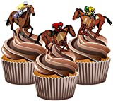 Precut Horse Racing Racehorse Mix - Edible Stand-up Cupcake Toppers (Pack of 12)