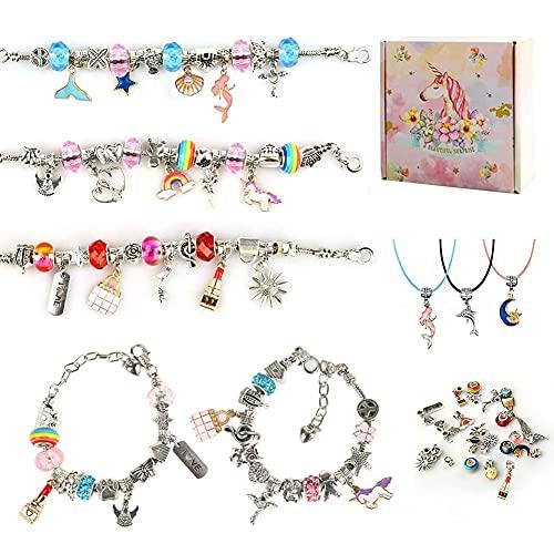 MOCOLI Charm Armband Kit DIY, 76 Stück Armbänder Selber Machen-Geschenke für Mädchen 6-12 Jahre, Adventskalender Mädchen 2021 Armband Bastelset Mädchen mit Charms anhänger
