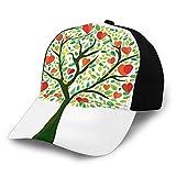 Gorra de béisbol unisex con borde curvado, diseño de árbol de amor con corazones floreciendo en ramas como frutas, tela de sarga de poliéster, sombrero de papá gorra de béisbol