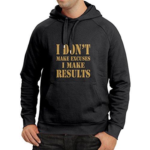 lepni.me Kapuzenpullover I Make Results - Gewicht verlieren schnelle Zitate und Muskelaufbau Motivationsrede (Large Schwarz Gold)