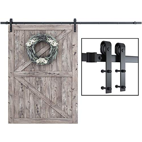 """SMARTSTANDARD 10 Feet Heavy Duty Sturdy Sliding Barn Door Hardware Kit-Super Smoothly and Quietly-Easy Installation-Includes Detailed Instruction-Fit 60"""" Wide DoorPanel (J Shape Hanger)"""