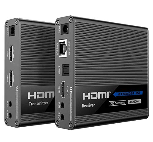 PremiumCord 4K HDMI Extender auf 70 m über Patchkabel Cat. 6/6A/7, IR-Sender und -Empfänger, HDMI 2.0, ARC, Kaskade, Auflösung Ultra HD 4K@60Hz