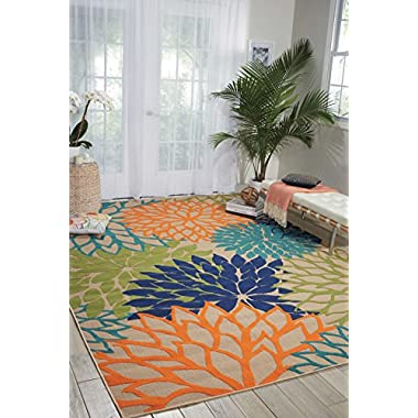 Nourison Aloha (ALH05) Multicolor Rectangle Area Rug, 5-Feet 3-Inches by 7-Feet 5-Inches (5'3  x 7'5 )