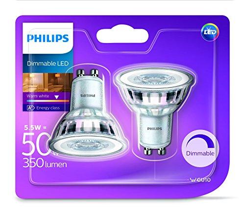 Philips GU10-LED-Spot, 5,5W, Glas, dimmbar, Ersatz für 50-W-Halogen-Spot, Warmweiß, glas Synthetisch, farblos, GU10, 5.5 wattsW 240 voltsV