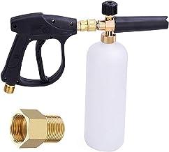 Sneeuwschuimlans met schuimrubberen pistool, verstelbaar, 1/4 inch, snelsluiting, 1 l, fles met M22, 14 mm tot 15 mm, adap...