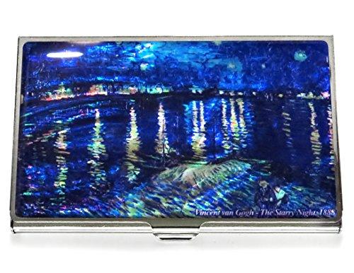Noche estrellada de Van Gogh Over the Rhone azul negocios crédito tarjeta caso identificación titular cartera de viaje Metal madre de Pearl